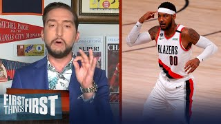 Nick reacts to Carmelo Anthony's clutch shot in Blazers' upset of Rockets | NBA | FIRST THINGS FIRST