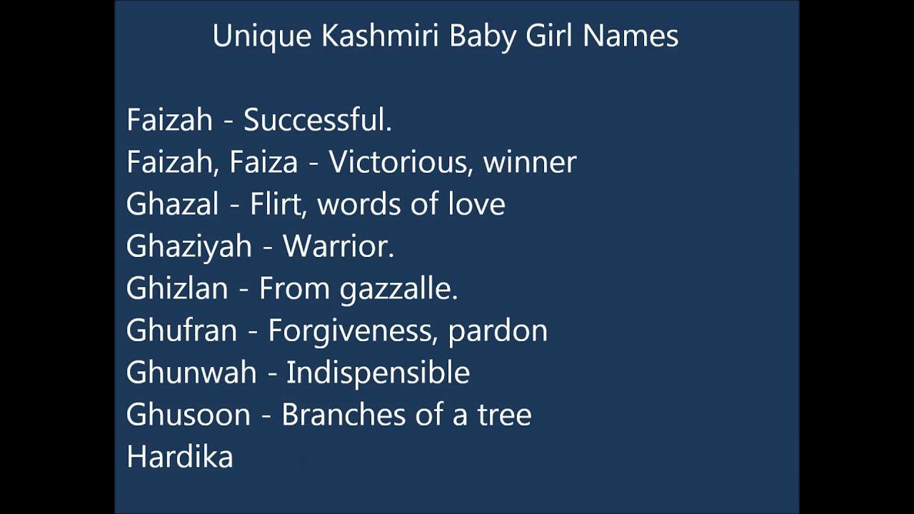 Unique Girl Names: Unique Kashmiri Baby Girl Names