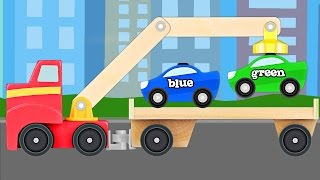 Big Rig Tow Truck Teaching Colors - Learning Colours Video for Kids & Toddlers