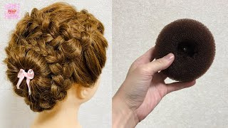 Donut Flower Bun Braid Hairstyle Updo🌸Tutorial 【ドーナツ フラワー】डोनट बाल