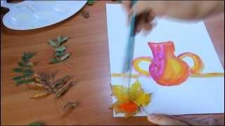 Занятия с детьми: рисование. Осенний букет из листьев