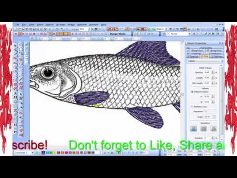 Embroidery Effect Fish Design.