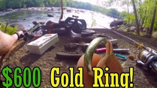 600 found gold in the river!!!  14k white gold ring!!! river treasure!!