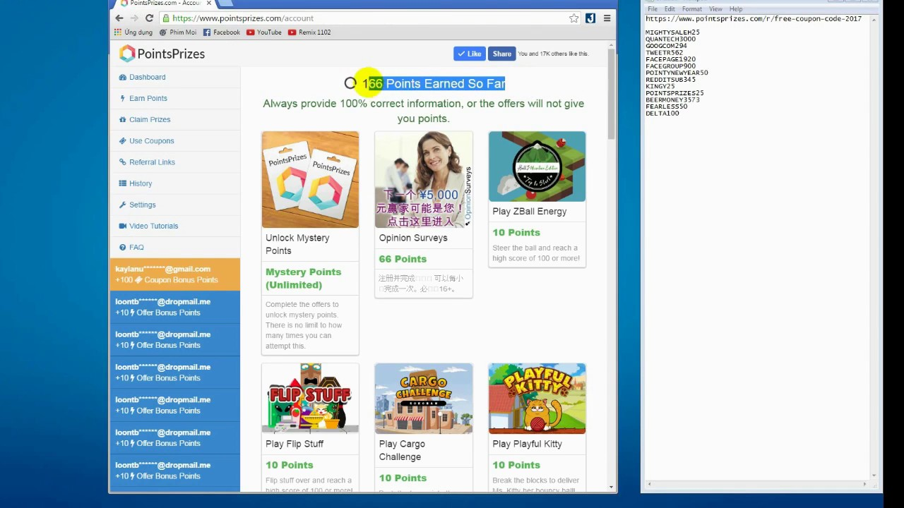 points prizes free coupon code make money 20 one day youtube