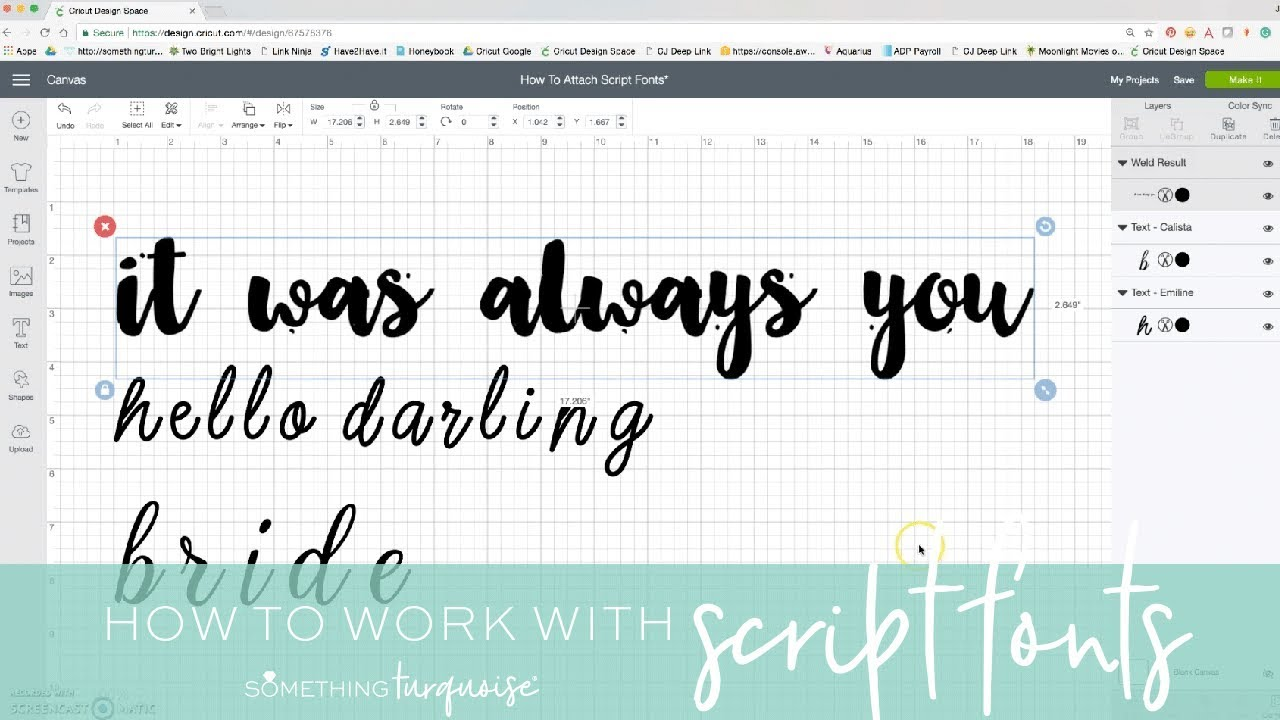 Cricut Design Space How To Write: How To Work With Script Style Fonts In Cricut Design Space! - YouTuberh:youtube.com,Design