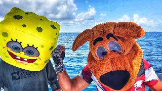 Spongebob and ScoobyDoo Fishing With Batman Captain America and Chewbacca for Snook