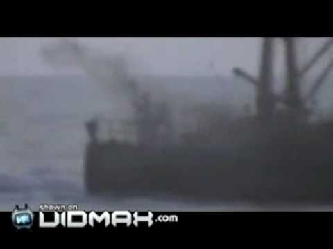 Russian coast guard takes down a pirate ship with their guns