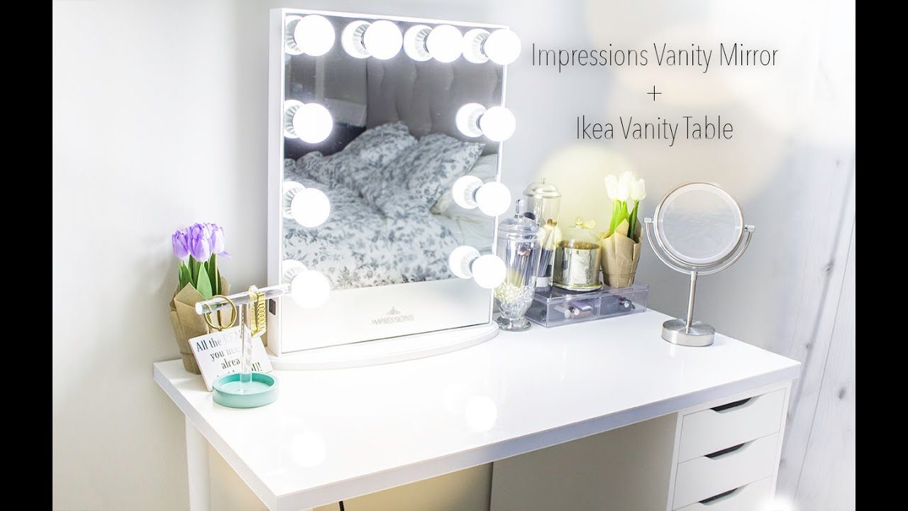 Impressions Vanity Mirror + Ikea Vanity Table - YouTube