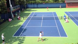 Federer Practice US Open; Mirka and Gasquet enjoying the view