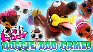 LOL Surprise Dolls Doggie Doo Game Unboxing! With Queen Bee, LOL Pets Miss Puppy, & Dollmatian!