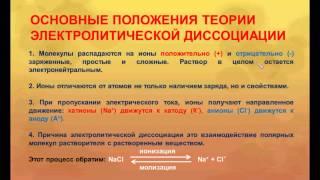 № 83. Неорганическая химия. Тема 10. Электролитическая диссоциация. Часть 4. Теория эл. диссоциации