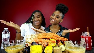 KING CRAB SEAFOOD BOIL WITH YUMMY SAUCE! FT: CURLYGIRLTV