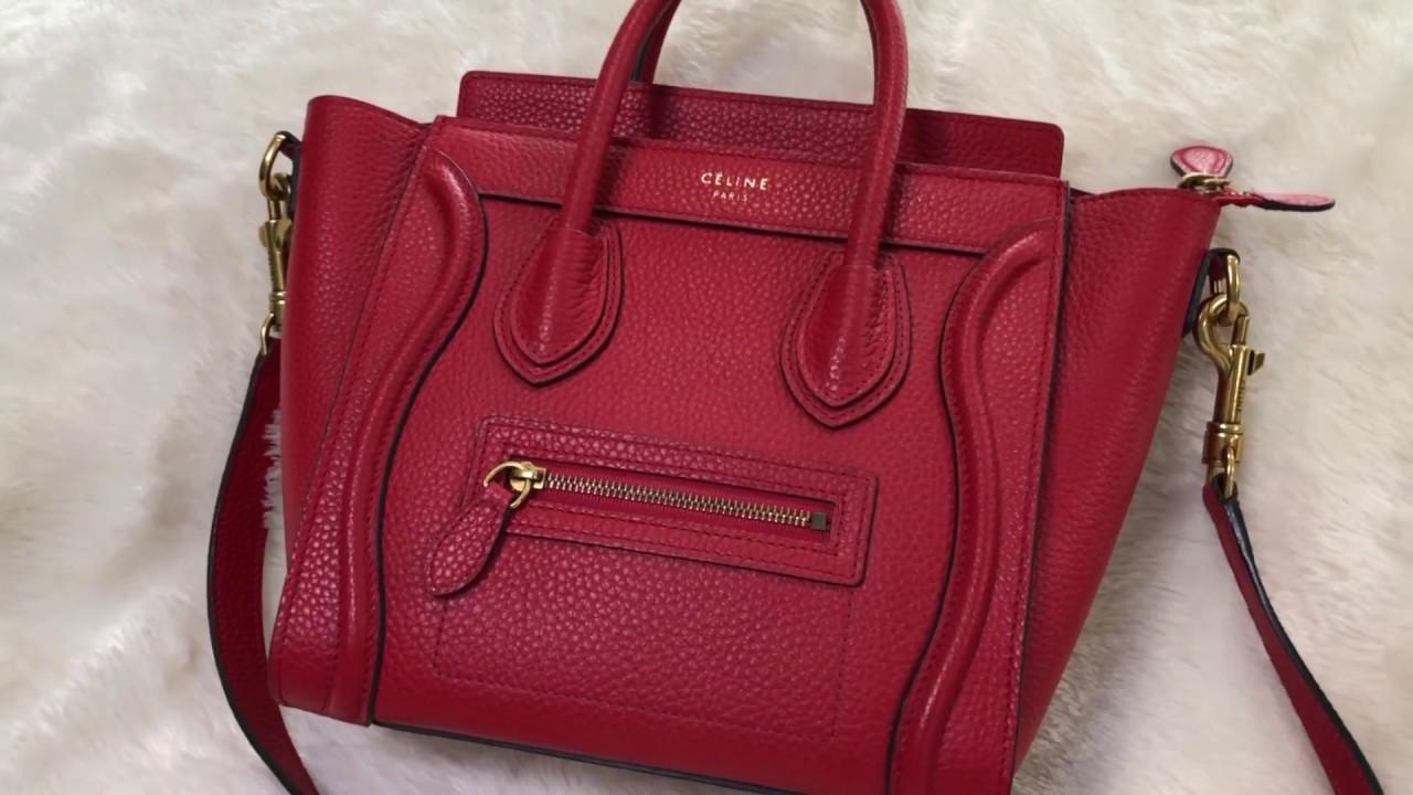 10fb6ff4fc1 Celine Nano Luggage Tote (Baby Red Drummed Calf) 168243AQL.27ED 2017 Summer  Collection. Lady MiuMiu