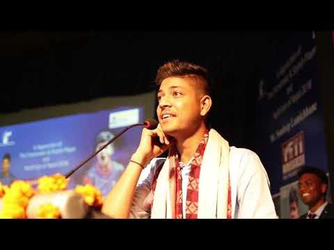 Sandeep Lamichhane showcase his singing skills