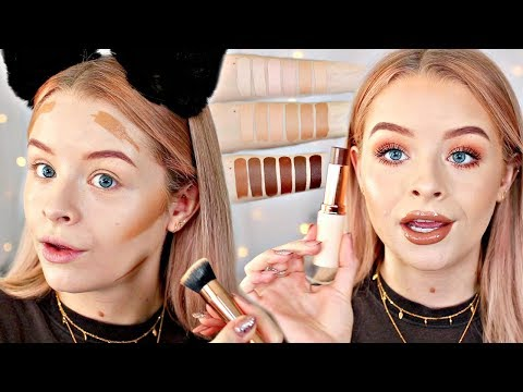 MAKEUP REVOLUTION FAST BASE FOUNDATION - SWATCHES + 10 HR WEAR TEST!! | sophdoesnails