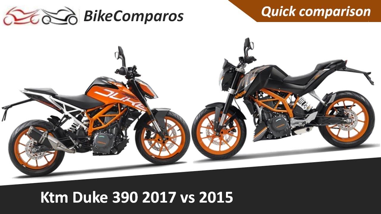 duke 390 2017 vs 2015 comparison review - youtube