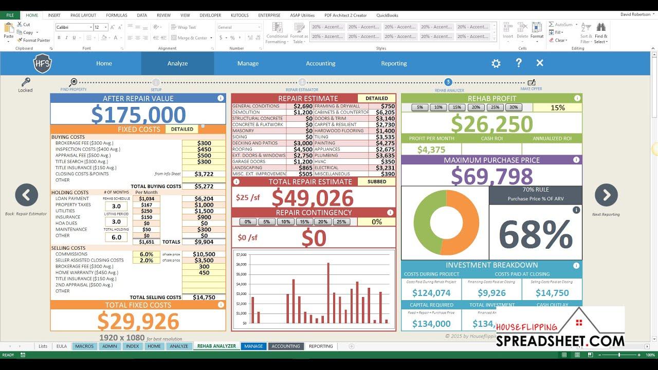 House Flipping Spreadsheet 4z