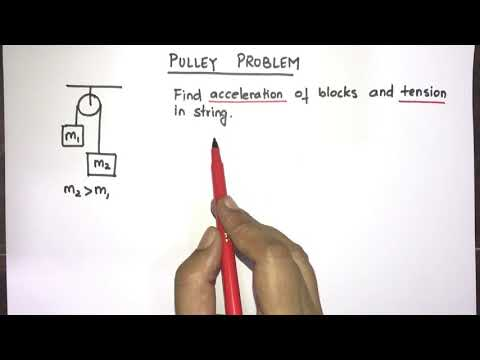 Pulley problem Atwoods machine Solve easily