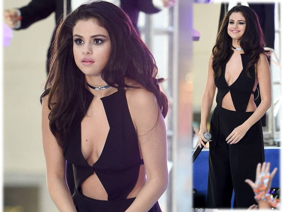 Selena Gomez Shows Off Ample Cleavage And Side Boob In Seriously Sexy Cut Out Jumpsuit In New York