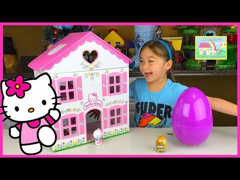 Big Purple Egg Surprises Golden Kinder Surprise Egg Toys HELLO KITTY DOLL HOUSE PLAYSET Frozen Anna