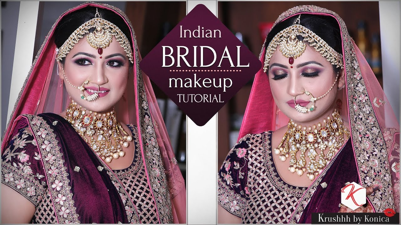 indian bridal traditional makeup tutorial | step by step makeup tutorial |  krushhh by konica