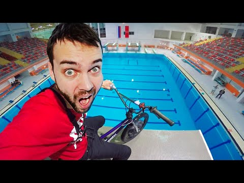 BMX vs. Olympic height (33 ft.)   Bicycle tricks and FAILS at the swimming pool thumbnail