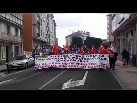 Manifestación de CC OO en Lugo en apoio a delegados na Once