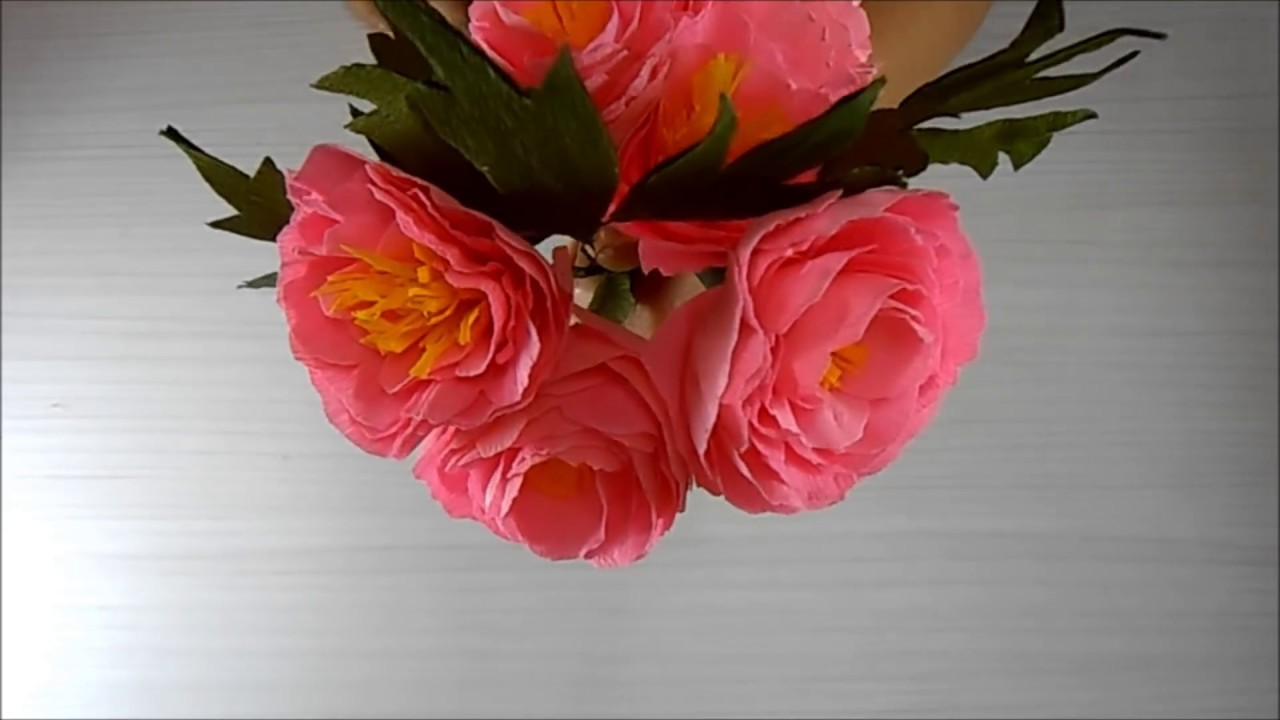 Diy Crepe Paper Peony Flower Tutorial Youtube