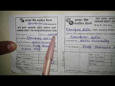 andhra bank deposit form  How to fill Andhra Bank DD Form:: fully explained - YouTube