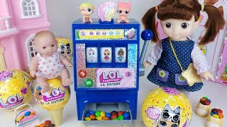 Baby doll and LOL surprise eggs machine toys play - 토이몽