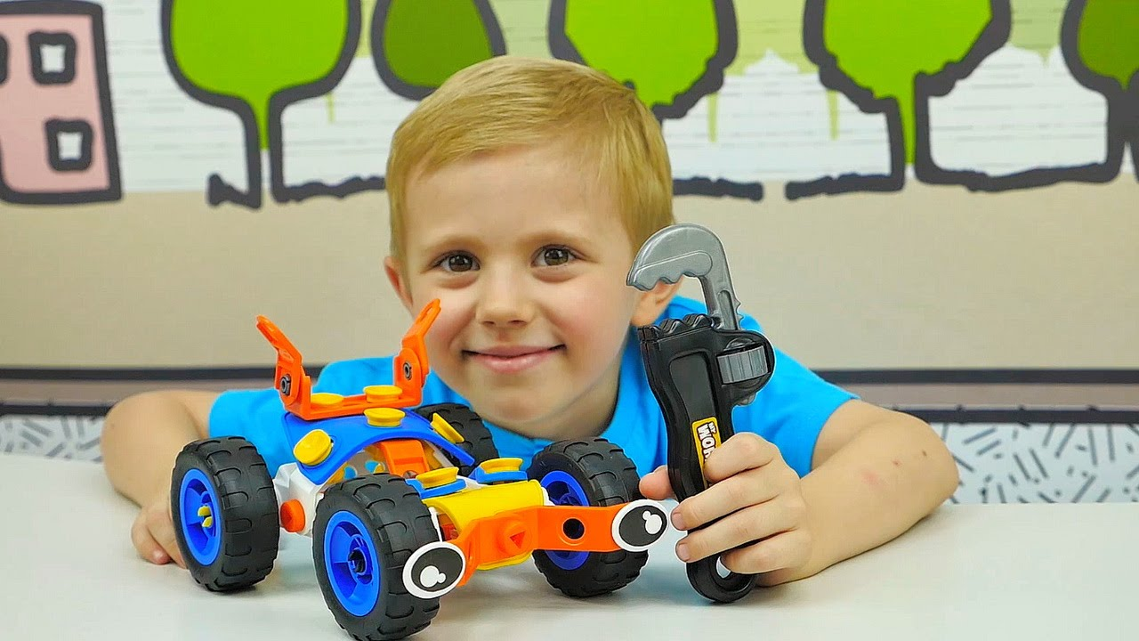 МАШИНКИ из гибкого конструктора - Развивающая игрушка Build & Play. Про машинки Вспыш. CARS