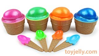 Learn Colors Slime Surprise Egg Kinder Joy Ice Cream Cup Milk Carton Baby Toys Play Doh for Kids
