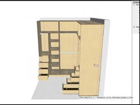 Crear y dise ar un vestier o armario en forma l youtube - Como hacer puertas de armario ...