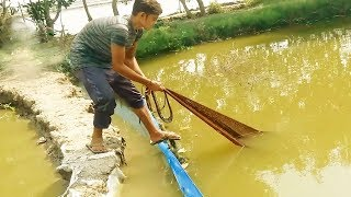 लाइव मछली पकड़ना | live Net fishing video | Fish Hunting video in Pond