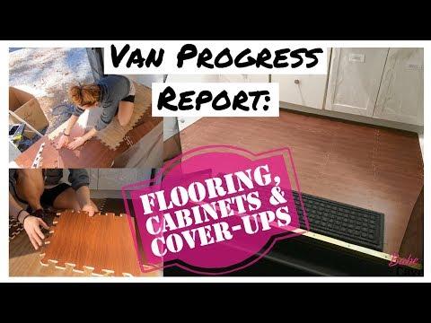 Van Progress Report: Flooring, Cabinets & Cover-Ups