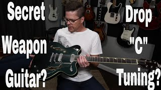 secret weapon guitar! drop c tuning with duesenberg gran majesto guitar tutorial by shawn tubbs.