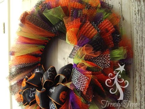 Halloween Tulle Amp Ribbon Wreath Tutorial Youtube