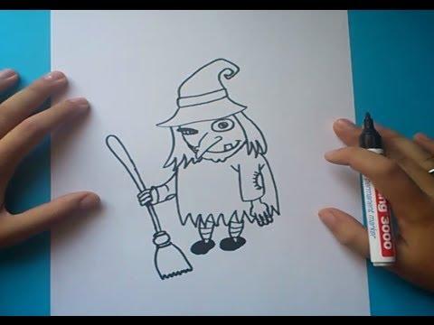 Como dibujar una bruja paso a paso 2  How to draw a witch 2  YouTube