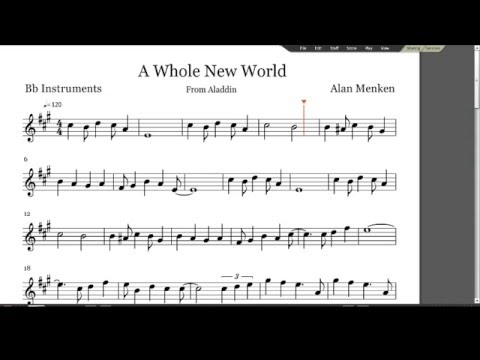 A Whole New World Sheet Music  B Flat Instruments