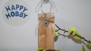 Osterlämmchen mit Glocke aus Kaminholz und Gartenbindedraht basteln, Ostern DIY