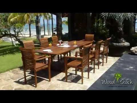 salon Flores Raja en teck huilé ensemble table de jardin 180 240 cm ...