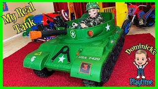 I HAVE A TANK | Unboxing a Ride On Tank | DOMINICK'S PLAYTIME