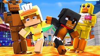 Minecraft FNAF - BURNING FNAF TO THE GROUND !!! w/ LITTLE BABY MAX