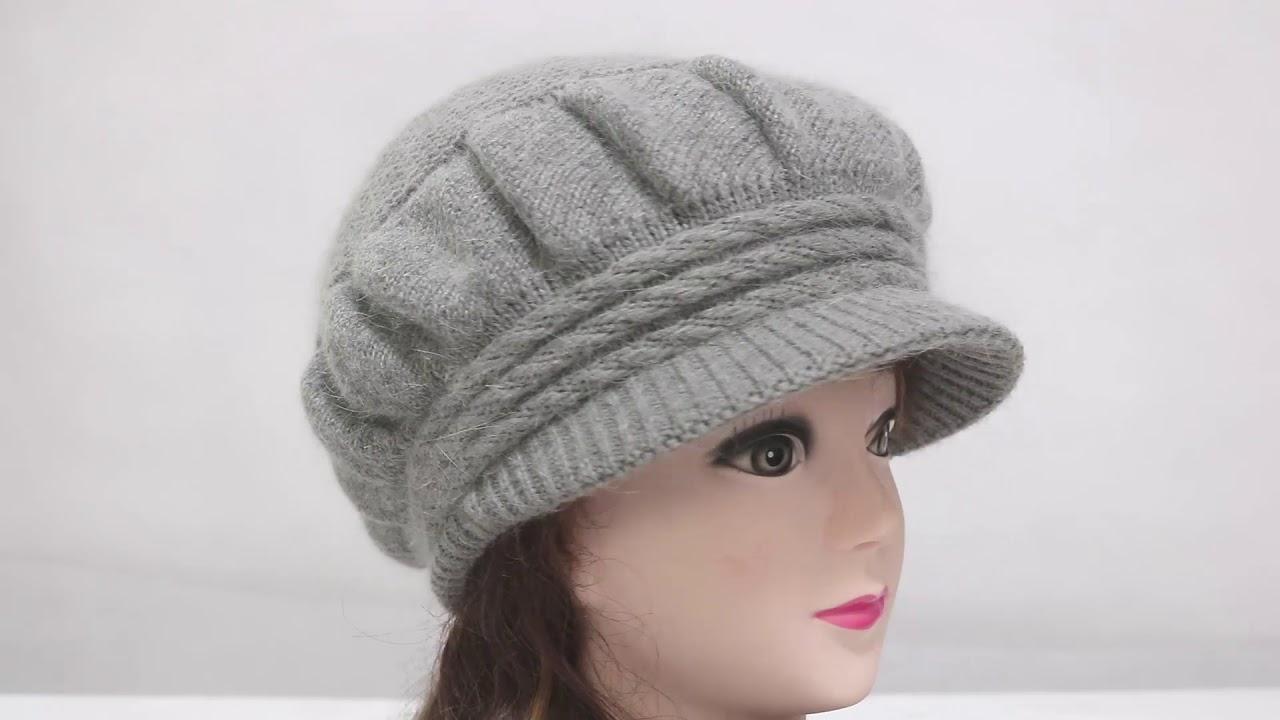 e656342a Dahlia Women's Angora Blend Dangling Pearl Dual Layer Newsboy Winter Hat