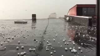 Boston hail storm in slow motion [HD]