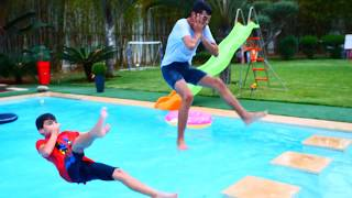 Jumping into  Swimming Pool