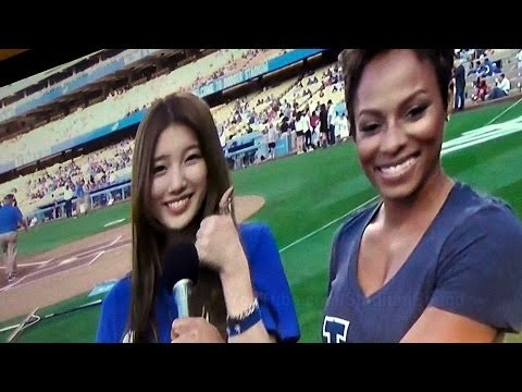 Suzy 수지 Miss A 미쓰에이 Interview at Dodger Stadium 5-28-14 Before First Pitch
