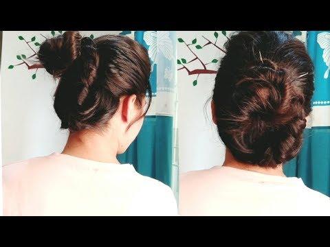 New bun hairstyle.|| easy everyday hairstyle. thumbnail
