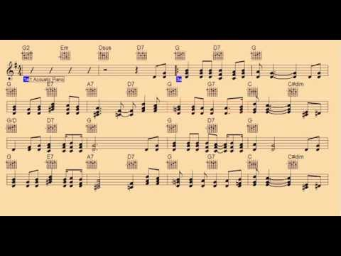 Red River Valley-Guitar Piano Chords/Notes/Backing Track/lead sheet