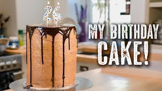 One of Topless Baker's most viewed videos: MY BIRTHDAY CAKE  Gold Funfetti Cake - Topless Baker